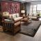 丽巢 实木沙发 橡胶木实木布艺沙发现代中式客厅家具实木沙发组合06 双人位(1.61m)