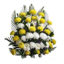 11支黄菊 7枝白玫瑰 清明节祭奠鲜花