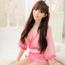 品信(Pinxin) 情趣内衣 家居服 两色 家居睡衣配腰带 送人 情趣浴袍 情趣制服 情趣和服 8121 粉色网纱和服