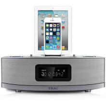 TEAC(蒂亚克)TC-612 苹果蓝牙iphone4S/5S底座床头双闹钟音响 内置无线蓝牙 银色