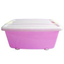 好媳收纳箱 大号滚轮可移动衣物整理箱 塑料储物箱 40L收纳盒 明浅紫 40L