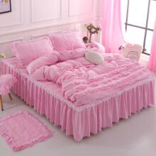 韩式全棉水洗棉床上四件套纯棉公主风床罩加厚淑女屋床裙柔裸睡 加厚粉色 180*220床裙200*230被套