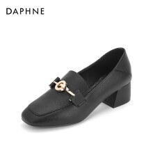 Daphne/达芙妮方头质感五金舒适可踩粗跟乐福单鞋