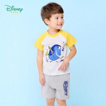 京东超市 迪士尼(Disney)童装男童夏季套装男宝宝肩开扣短袖套装外出两件套宝蓝4岁/身高110cm