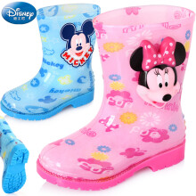 迪士尼(Disney)儿童雨鞋 男女童中筒防滑雨靴 15492 米妮粉28码