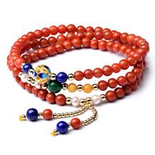 欧采妮 南红玛瑙手链 柿子红火焰红男女款佛珠手串 毛衣链饰品珠子直径约 4mm 附证书 Z00772