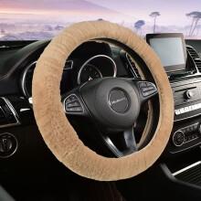 牧宝冬季汽车方向盘把套 冬天车内皮毛一体短毛绒把套奔驰宝马奥迪大众速腾迈腾朗逸宝来福克斯 驼色
