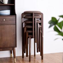 家逸实木凳子现代简约圆凳非塑料坐凳创意布艺餐椅凳