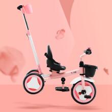 京东超市小虎子(little tiger)儿童三轮脚踏车 简约推行骑行三轮推车童车 2-6岁儿童车 可换向 溜娃用 T150粉色