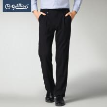 金利来2020春夏新款男士穿着舒适不易起皱时尚单褶商务西裤长裤 黑色 29