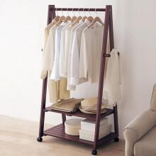家逸衣帽架实木衣架落地卧室储物衣服架子现代简约落地挂衣架棕色双层