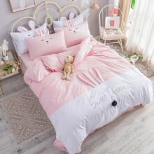 格瑞雅居    床上用品床上四件套全棉少女心兔耳朵全棉纯棉卡通可爱四件套床单被套枕套四件套 甜心粉 1.5-1.8米床-被套200*230cm