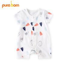 京东超市 pureborn新生婴儿连体衣服夏季卡通那女宝宝短袖前开爬服哈衣 熊孩子本白 9-12个月