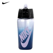 耐克NIKE吸管水杯健身锻炼蛋白粉摇摇杯喝水壶可泡茶装开水tritan水杯 473ml粉色半透明 N000003591616 便携式渐变蓝色带吸管