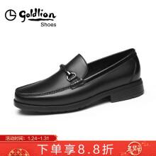 金利来(goldlion)男鞋休闲鞋商务男鞋舒适透气皮鞋502830574ALA-黑色-38码
