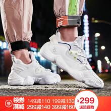 【头号青年】特步男鞋休闲鞋老爹鞋2019新款子男士跑步鞋运动鞋 白色 42