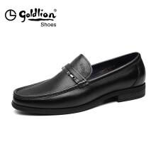 金利来(goldlion)男鞋别致金属扣商务鞋舒适套脚男士皮鞋520820046ALA-黑色-40码