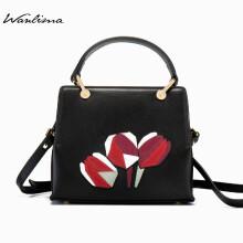 万里马Wanlima 专柜同款 女包时尚玫瑰花拼接手提包女式斜挎包单肩女包 黑色 均码