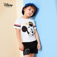 京东超市 迪士尼 Disney 童装男童儿童宝衣服短袖T恤上衣短裤子套装两件套2020夏 DB021UE04 本白 110