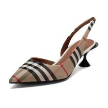 博柏利 BURBERRY 女款织物Vintage格纹露跟高跟鞋典藏米色 80109641 37.5码