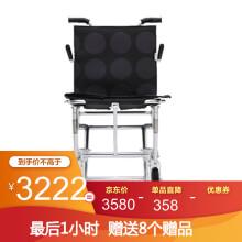 日本中进NAH-207可登机轮椅折叠老人轻便航钛铝合金老年人代步车超轻飞机高铁旅行小轮旅游手推车便携 黑色圆点 40厘米坐宽