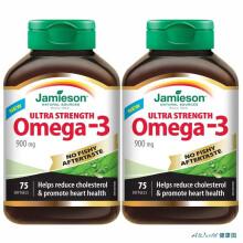 京东国际【加拿大直邮】Jamieson健美生高含量深海鱼油Omega-3 900mg 75粒 两瓶