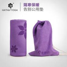 哈他专业瑜伽铺巾 硅胶防滑瑜伽垫毯子 印花紫(送便携收纳袋)