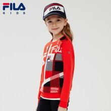 FILA斐乐童装官网女童卫衣2020年春季新款格纹针织套头上衣圣诞款潮 火红-RD 140cm