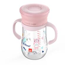 京东超市gb好孩子 儿童水杯 宝宝学饮杯 儿童防摔防撞360度水杯350mL配握把背带-樱花粉(小熊款)