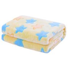 京东超市 象宝宝(elepbaby)婴儿毛毯夏季空调毯幼儿园被子法兰绒盖毯儿童毯子新生儿宝宝安抚毯100*130cm骨头足迹蓝 彩色五角星