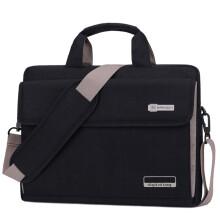 英制 BRINCH 时尚电脑包15.6英寸百搭流行款公文包商务休闲苹果联想戴尔小米华为游戏本单肩包BW-216 黑色