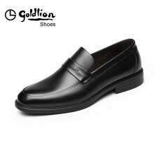 金利来(goldlion)男鞋商务休闲正装鞋舒适轻质透气时尚皮鞋503830137AAA-黑色-41码