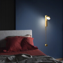 奥朵壁灯北欧简约床头灯卧室客厅灯具长条led后现代夜灯创意灯饰 金【5-8�O】宽8高128cm白光12W