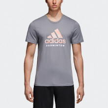 阿迪达斯 adidas GRAPHIC 男款运动服 短袖T恤 羽毛球服 灰色 CV4337 M码