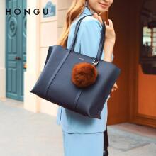 红谷女包包手提包时尚简约大容量单肩包女士手提单肩包手拎包 H5152991靛蓝