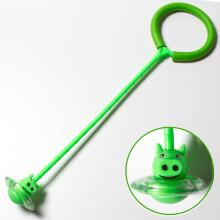 米字熊 跳跳球 跳跳圈 儿童玩具弹力闪光蹦蹦球 健身减肥旋转跳环 单脚甩腿球 绿色小猪版