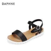 达芙妮/Daphne一字带舒软圆头纯色平底凉鞋