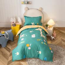 迷人居宝宝儿童幼儿园被子三件套纯棉幼儿午睡被褥被套婴儿床床上用品 精灵小鹿蓝(被套120x150m+垫套60x120 其它