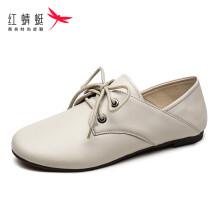 红蜻蜓(REDDRAGONFLY)时尚休闲英伦风舒适平跟百搭单鞋 WTB91071/72/73 白色 36