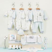 京东超市 亿婴儿 婴儿衣服礼盒套装女新生儿夏满月百天礼物刚出生宝宝用品17件套  3112 粉色 蓝兔骑车