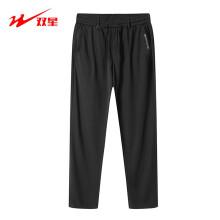 双星运动裤男新款夏季透气超薄黑色男士休闲直筒大码裤子修身潮流工装裤 黑色 190/5XL