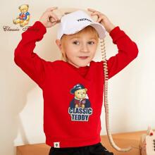 精典泰迪 Classic Teddy 童装儿童连帽卫衣男童长袖上衣女宝宝连帽长袖衣服秋冬 棒球帽子熊卫衣G1-大红 100