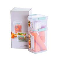 乐扣乐扣 塑料密封保鲜盒3件套 冰箱收纳盒便当盒饭盒餐盒储物盒MTL115S3M透明600ml+1.2L