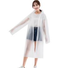 京东超市雨航 YUHANG  成人雨衣半透明磨砂时尚简约雨衣男女士长款带帽加厚雨衣 均码 VA615 白色