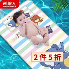 南极人(Nanjiren)婴儿蚊帐罩可折叠宝宝新生婴儿床上防蚊全罩式通用便携式儿童蒙古包带支架 蓝色遮阳款小号 条纹大象120*60