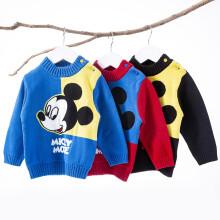 京东超市 迪士尼(Disney)童装 男童毛衣米奇针织套头上衣2020年秋季儿童纯棉衣服蓝色5岁/身高120cm