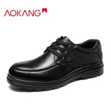 奥康(Aokang)男鞋男士商务休闲鞋英伦舒适低帮圆头系带皮鞋193212070/G93212070 黑色38码