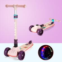 京东超市运动伙伴 儿童滑板车2-3-6-12岁 三四轮小孩滑步车 可升降折叠闪光摇摆踏板平衡车免安装滑滑车 粉色