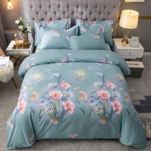 格瑞雅居 床上用品四件套纯棉全棉磨毛床品套件床单被套枕套 安丽娜 绿 2米床适用被套220*240cm