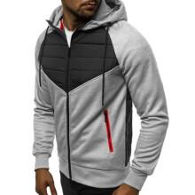 FNMM2020春季新品男士休闲运动外套时尚棉衣外套拼色棉服开衫卫衣男 灰色 M